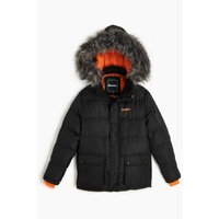 Boys Bench Calcott Faux Fur Black Parka Coat