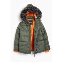 Boys Bench Calcott Faux Fur Parka Coat
