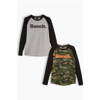 Boys Bench Pack of 2 Long Sleeve Raglan T-Shirts