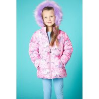 Younger Girls Unicorn Padded Faux Fur Trim Jacket