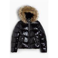 Older Girls Shiny Padded Cropped Faux Fur Trim Black Jacket