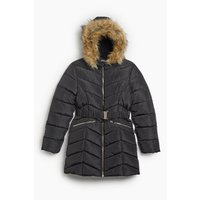 Older Girls Belted Chevron Padded Longline Faux Fur Trim Black Jacket