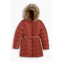 Older Girls Belted Chevron Padded Longline Faux Fur Trim Rust Jacket