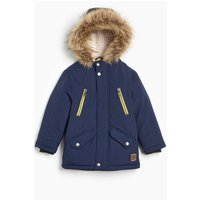 Younger Boys Faux Fur Borg Lined Hooded Parka Jacket
