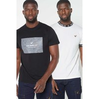 Voi Pack of 2 Black and White Taped T-Shirts.