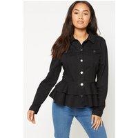 Black Denim Frill Jacket