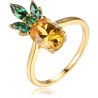 Yellow Gold Plated Sterling Silver CZ Pineapple Ring