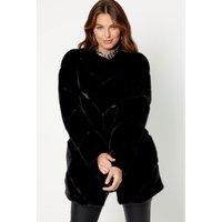 Razor Cut Black Faux Fur Jacket