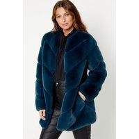 Razor Cut Teal Faux Fur Jacket
