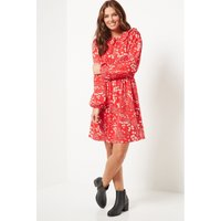 Pretty Collar Red Floral Short Dress