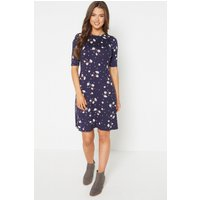 Short Fit and Flare Navy Floral Jersey Dress