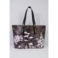 Buckle Handle Floral Tote Bag and Matching Purse