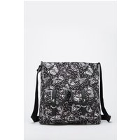 Black/White Butterfly Print Canvas Double Pocket Shoulder Bag