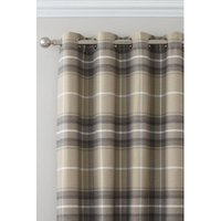 Brushed Heritage Check Lined Eyelet Curtains
