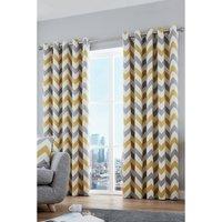 Zigzag Cotton Lined Eyelet Curtains