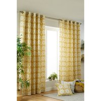 Laura Floral Printed Cotton Lined Eyelet Curtains