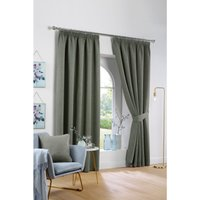 Victor Woven Canvas Look Blackout Pencil Pleat Curtains