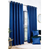 Crinkle Woven Blockout Eyelet Curtains