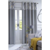 Geo Top Border Lined Eyelet Curtains