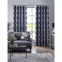 Enchanted Forest Metallic Print Eyelet Lined Curtains