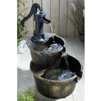 Solar Two-Tier Cascade Barrel Water Fountain