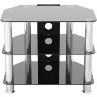 'Black/silver Glass Tv Stand With Cable Management