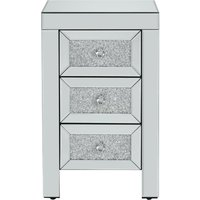 'Vienna 3 Drawer Mirrored Bedside Table