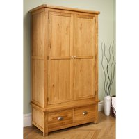 Woburn 2 Door 2 Drawer Oak Wardrobe