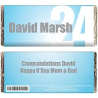 Personalised Blue Number Chocolate Bar.