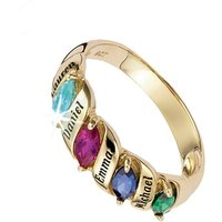 Personalised Name and Birthstone 9ct Gold Ring