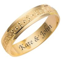 Personalised 9ct Yellow Gold Champagne Bubble 4mm Wedding Ring