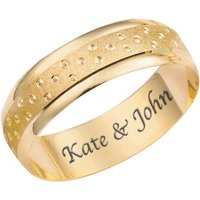 Personalised 9ct Yellow Gold Champagne Bubble 6mm Wedding Ring
