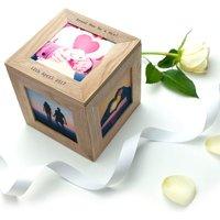 Personalised Oak Photo Cube Keepsake Box