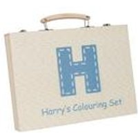 Personalised Childrens Wooden Box Colouring Set