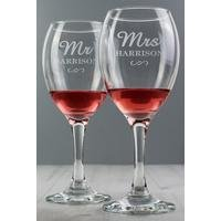 Personalised Mr and Mrs Wine Glass Set.