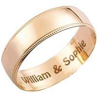 Personalised 9ct Yellow Gold Millgrain Wedding Ring - 6mm