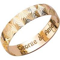 Personalised 9ct Yellow Gold Diamond Cut 4mm Wedding Ring