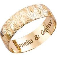 Personalised 9ct Yellow Gold Diamond Cut 6mm Wedding Ring