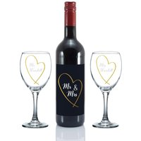 Personalised Mr and Mrs Gold Heart Red Wine Gift Set.
