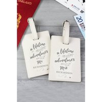 Personalised Lifetime of Adventures Mr and Mrs Luggage Tags