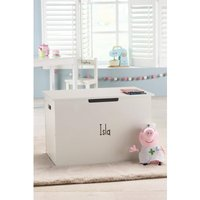 Personalised Panelled Wooden Toy Chest with Hinged Lid