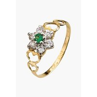 Personalised 9ct Yellow Gold Flower Birthstone Ring