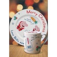 Personalised Peppa Pig Santa Plate and Mug Set