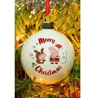 Personalised Peppa Pig and George Pig Christmas Bauble
