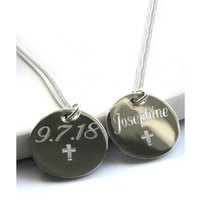 Personalised Silver Vanessa Disc Pendant with Cross Symbol.