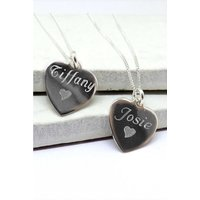 Personalised Sterling Silver Vanessa Heart Pendant With Heart.