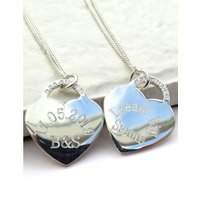 Personalised Sterling Silver Rockwell Heart Tag Pendant.