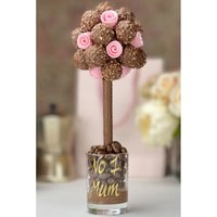 Personalised Ferrero Rocher with Edible Pink Roses Sweet Tree.