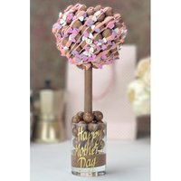 Personalised Malteser Heart with Pink Drizzle and Heart Sprinkles Sweet Tree.