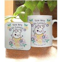 Personalised Peppa Pig Mummy Pig Floral Mug and Coaster
